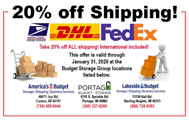 20% off shipping, valid through January 31,2020